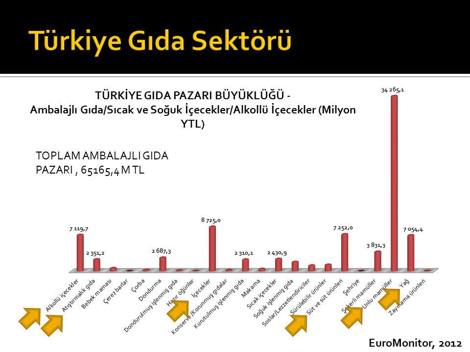 Türkiye Gıda Sektörü TOPLAM AMBALAJLI GIDA PAZARI , 65165,4 M TL