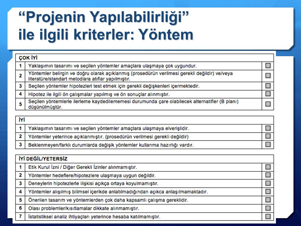 Projenin Yapılabilirliği ile ilgili kriterler: Yöntem