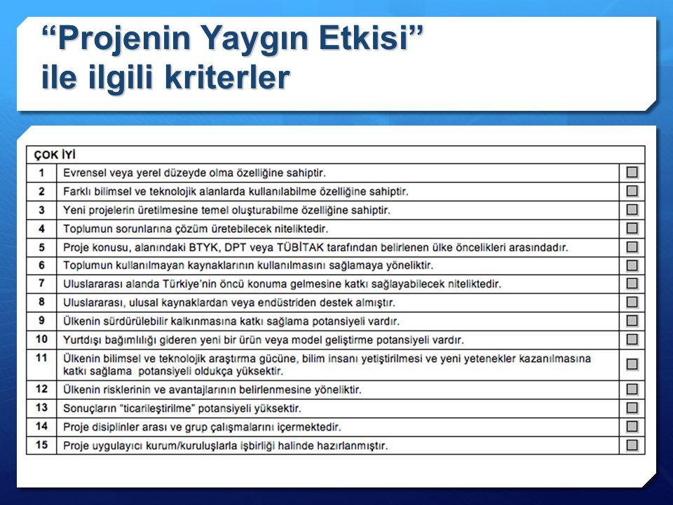 Projenin Yaygın Etkisi ile ilgili kriterler