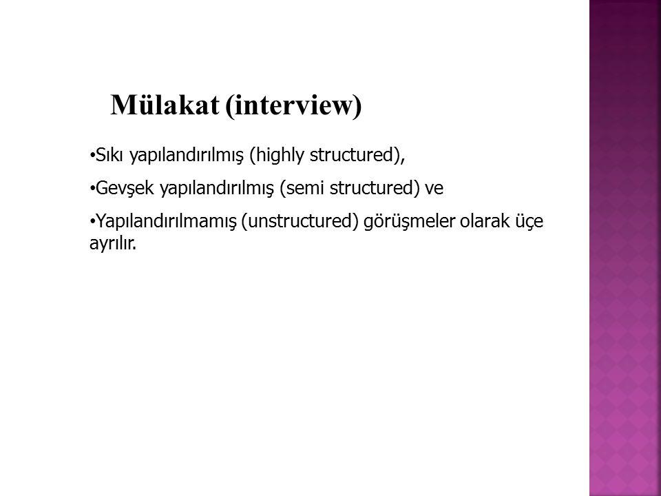 Mülakat (interview) Sıkı yapılandırılmış (highly structured),