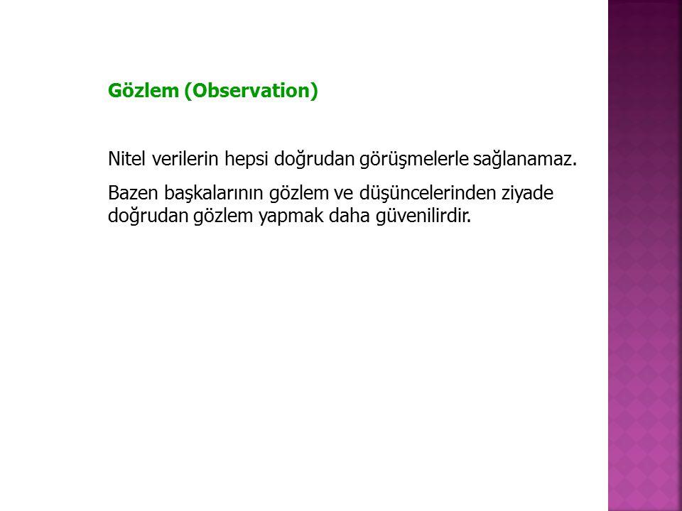 Gözlem (Observation) Nitel verilerin hepsi doğrudan görüşmelerle sağlanamaz.