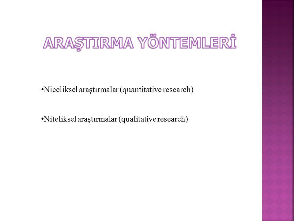 ARAŞTIRMA YÖNTEMLERİ Niceliksel araştırmalar (quantitative research)
