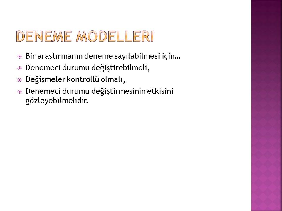 Deneme Modelleri Bir araştırmanın deneme sayılabilmesi için…