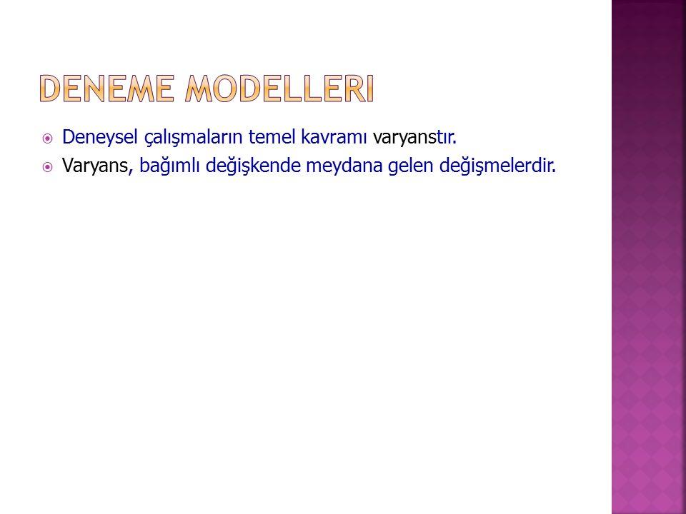 Deneme Modelleri Deneysel çalışmaların temel kavramı varyanstır.