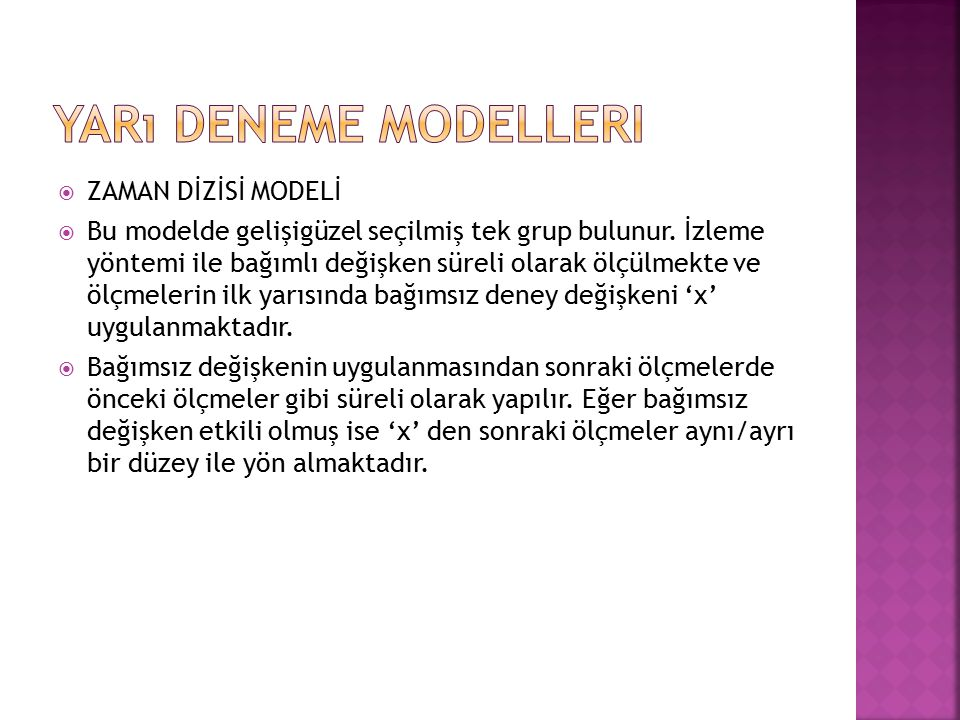 Yarı Deneme Modelleri ZAMAN DİZİSİ MODELİ