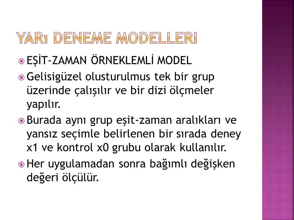 Yarı Deneme Modelleri EŞİT-ZAMAN ÖRNEKLEMLİ MODEL