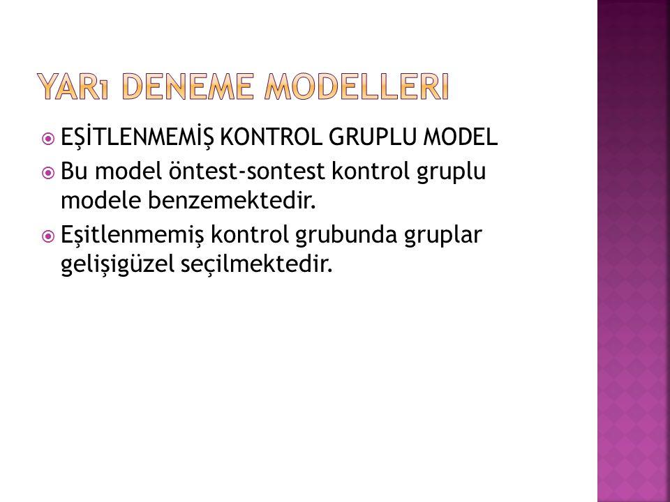 Yarı Deneme Modelleri EŞİTLENMEMİŞ KONTROL GRUPLU MODEL