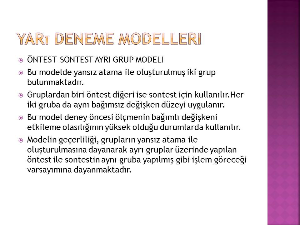 Yarı Deneme Modelleri ÖNTEST-SONTEST AYRI GRUP MODELI