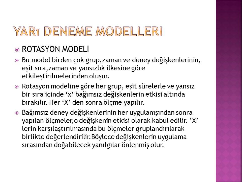 Yarı Deneme Modelleri ROTASYON MODELİ