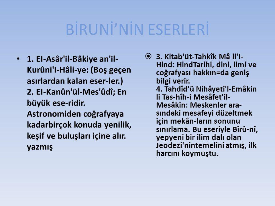 BİRUNİ'NİN ESERLERİ