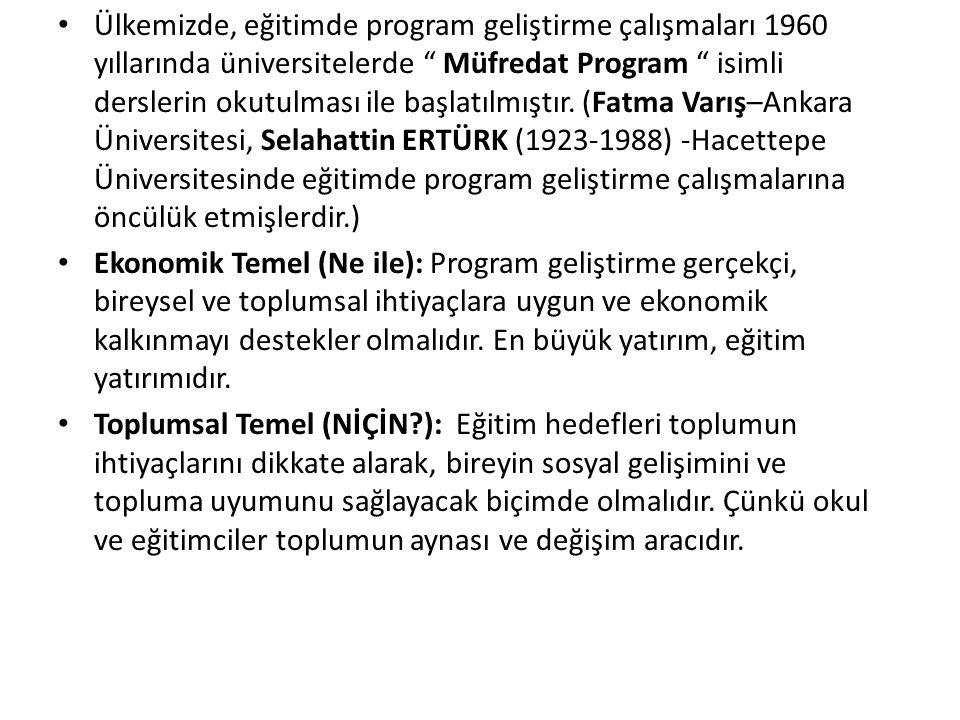 Ülkemizde, eğitimde program geliştirme çalışmaları 1960 yıllarında üniversitelerde Müfredat Program isimli derslerin okutulması ile başlatılmıştır. (Fatma Varış–Ankara Üniversitesi, Selahattin ERTÜRK (1923-1988) -Hacettepe Üniversitesinde eğitimde program geliştirme çalışmalarına öncülük etmişlerdir.)
