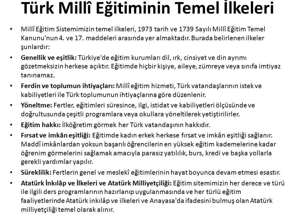 Türk Millî Eğitiminin Temel İlkeleri