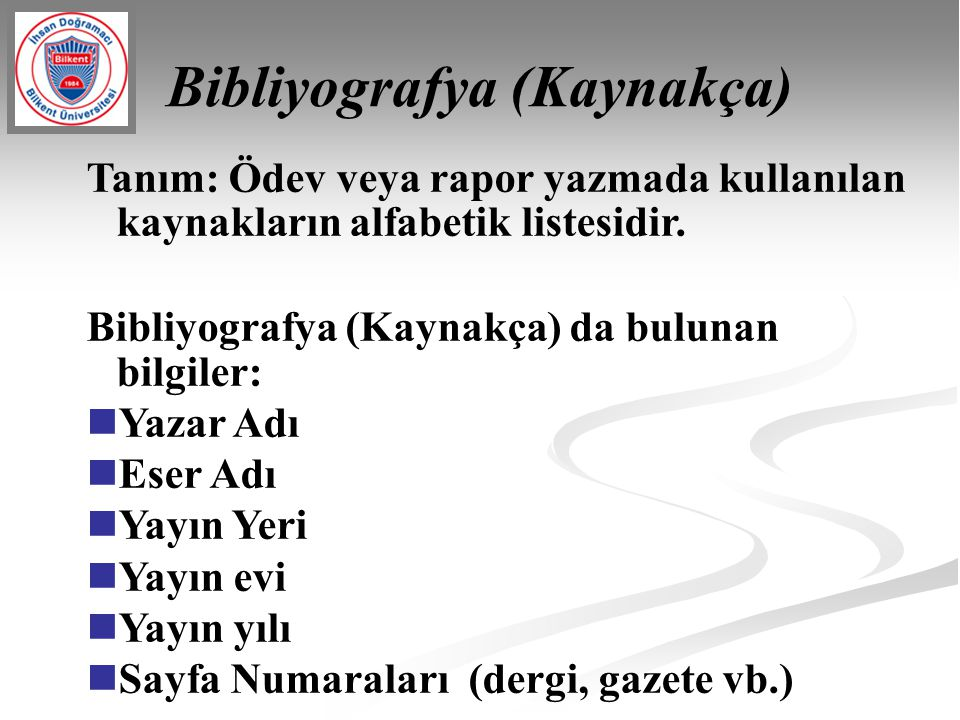 Bibliyografya (Kaynakça)