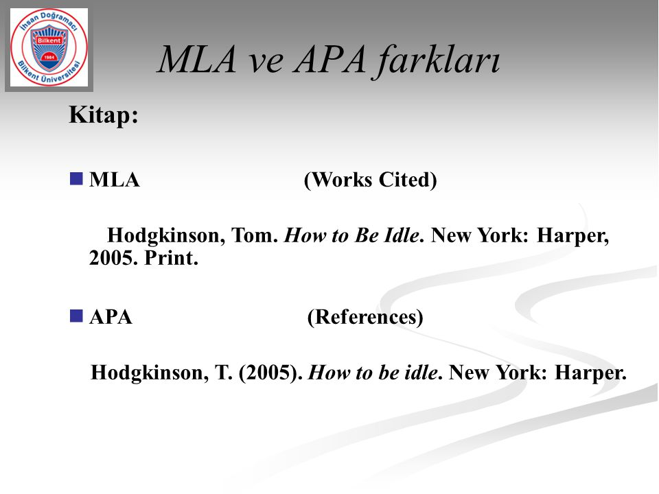 MLA ve APA farkları Kitap: MLA (Works Cited)‏