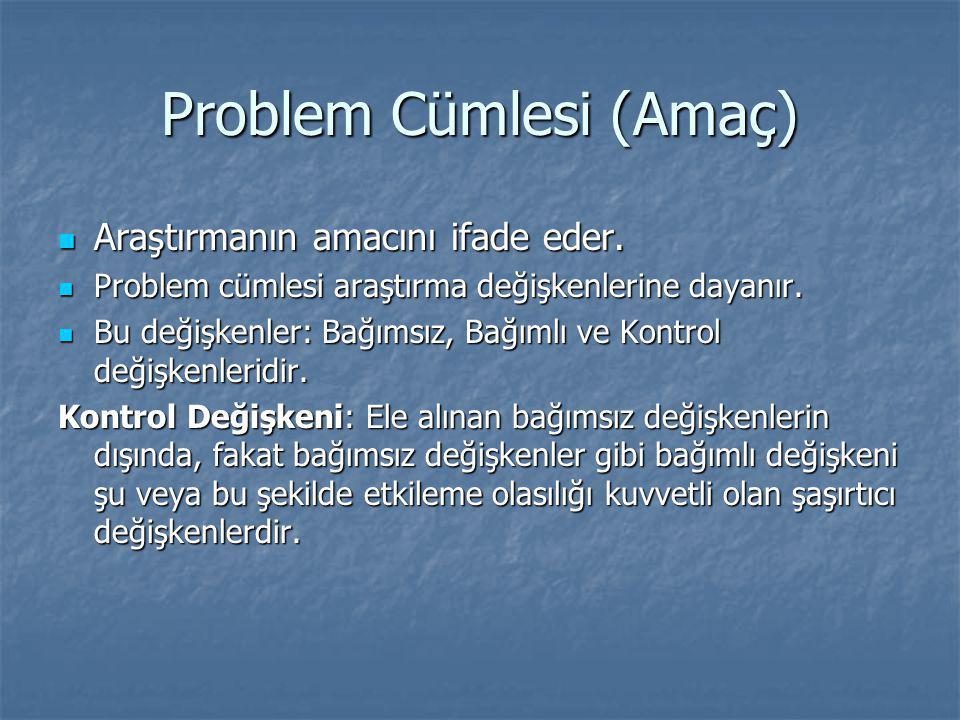 Problem Cümlesi (Amaç)