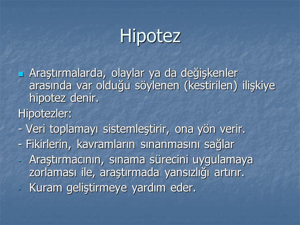 Hipotez Araştırmalarda, olaylar ya da değişkenler arasında var olduğu söylenen (kestirilen) ilişkiye hipotez denir.