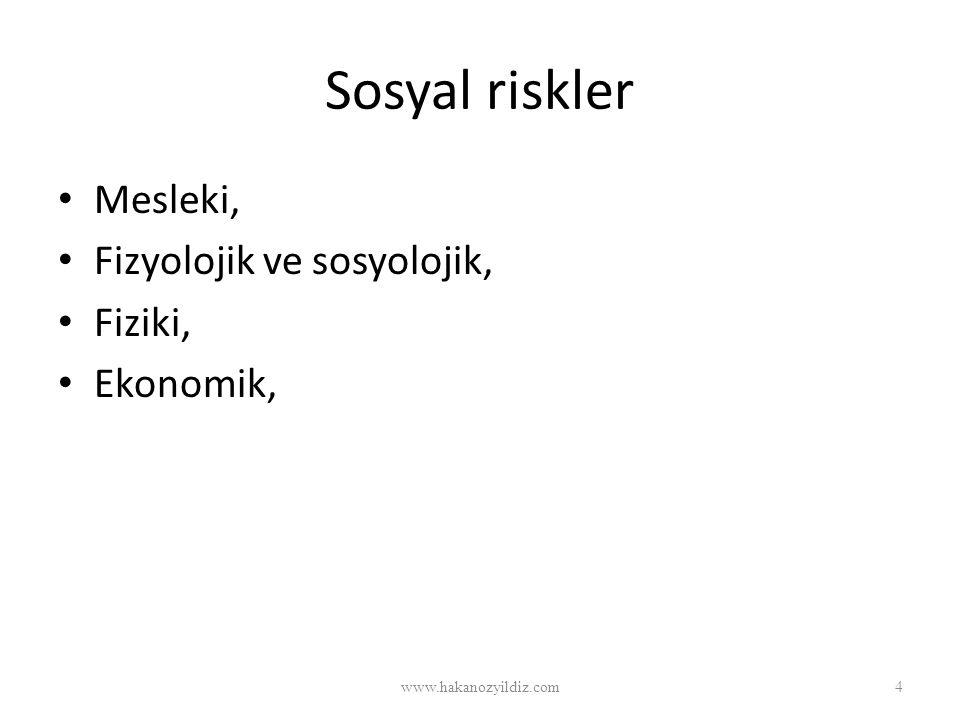 Sosyal riskler Mesleki, Fizyolojik ve sosyolojik, Fiziki, Ekonomik,
