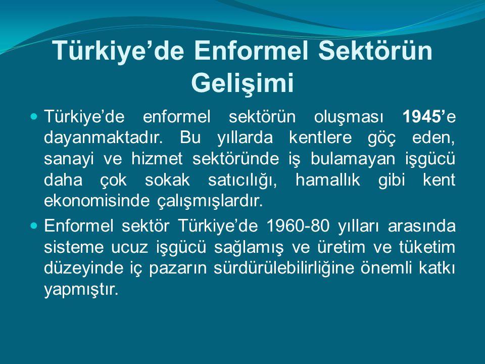 Türkiye'de Enformel Sektörün Gelişimi