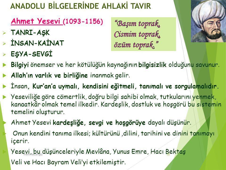 ANADOLU BİLGELERİNDE AHLAKİ TAVIR