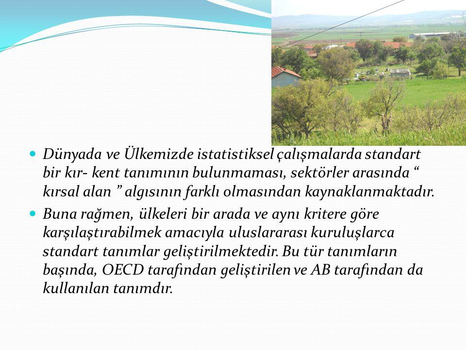 Dünyada ve Ülkemizde istatistiksel çalışmalarda standart bir kır- kent tanımının bulunmaması, sektörler arasında kırsal alan algısının farklı olmasından kaynaklanmaktadır.