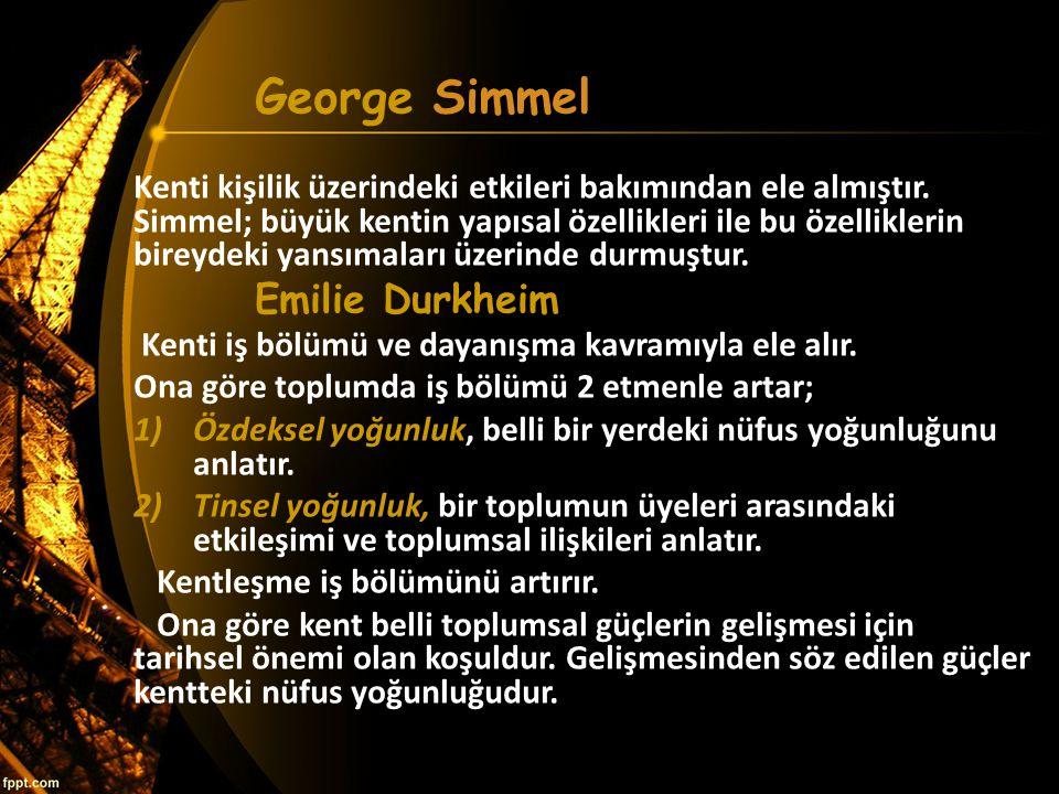George Simmel Emilie Durkheim