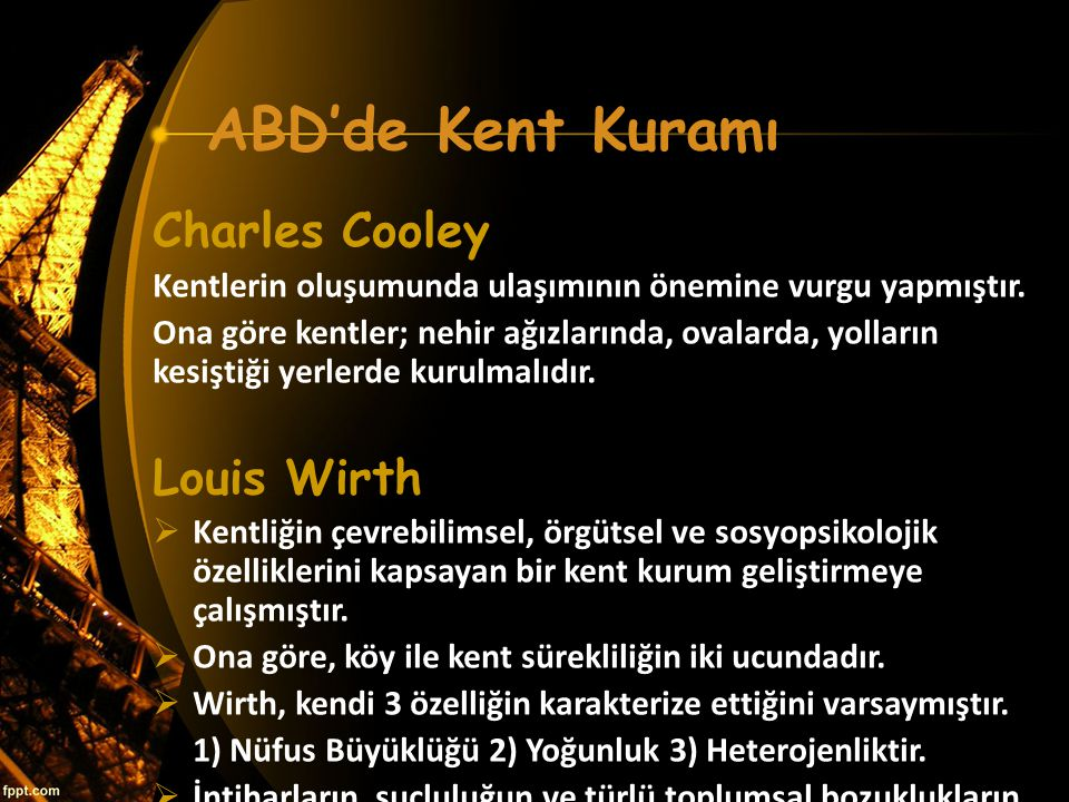 ABD'de Kent Kuramı Charles Cooley Louis Wirth