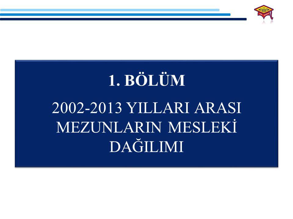 2002-2013 YILLARI ARASI MEZUNLARIN MESLEKİ DAĞILIMI