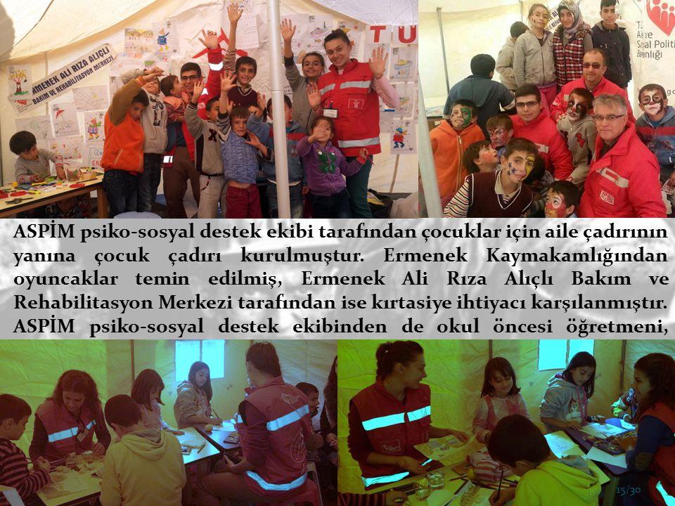 ASPİM psiko-sosyal destek ekibi tarafından çocuklar için aile çadırının yanına çocuk çadırı kurulmuştur.