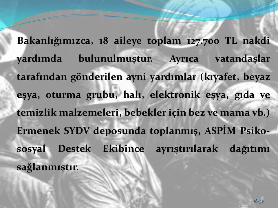 Bakanlığımızca, 18 aileye toplam 127