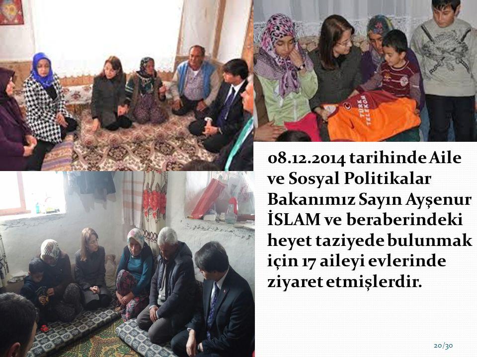 08.12.2014 tarihinde Aile ve Sosyal Politikalar Bakanımız Sayın Ayşenur İSLAM ve beraberindeki heyet taziyede bulunmak için 17 aileyi evlerinde ziyaret etmişlerdir.