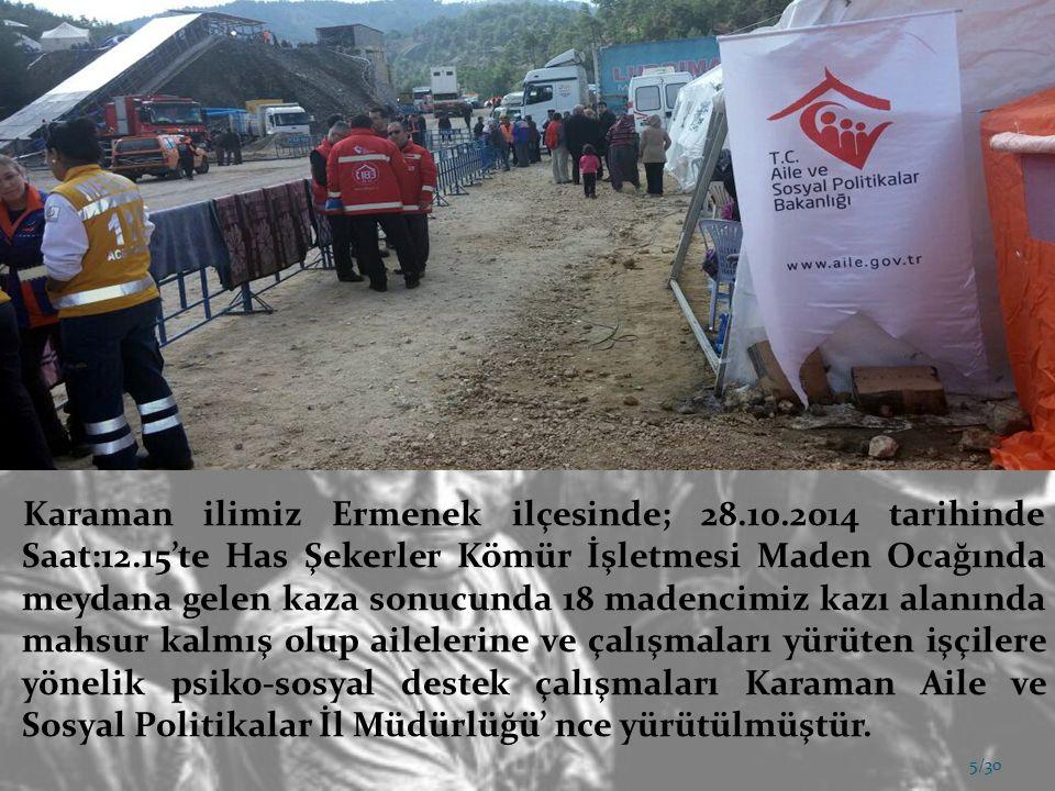 Karaman ilimiz Ermenek ilçesinde; 28. 10. 2014 tarihinde Saat:12