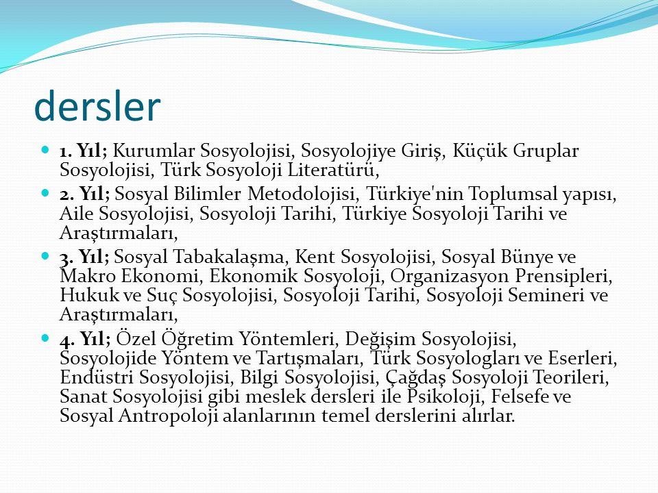 dersler 1. Yıl; Kurumlar Sosyolojisi, Sosyolojiye Giriş, Küçük Gruplar Sosyolojisi, Türk Sosyoloji Literatürü,