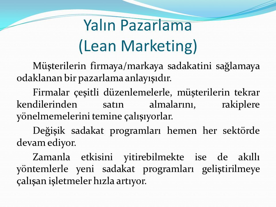 Yalın Pazarlama (Lean Marketing)