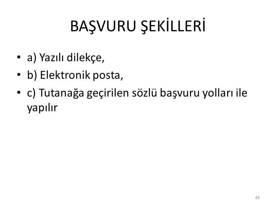 BAŞVURU ŞEKİLLERİ a) Yazılı dilekçe, b) Elektronik posta,