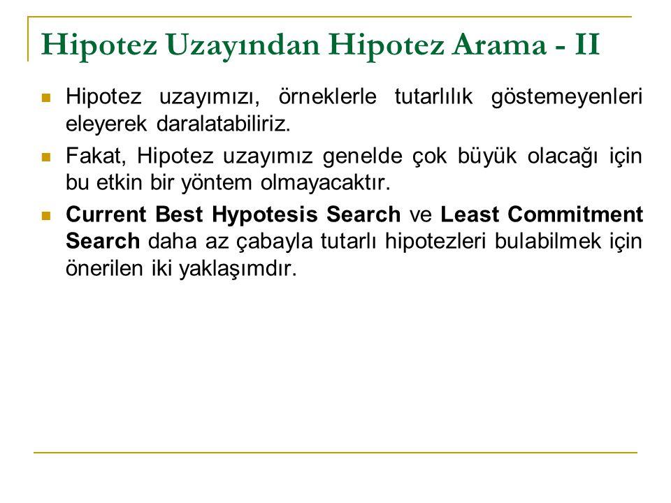 Hipotez Uzayından Hipotez Arama - II