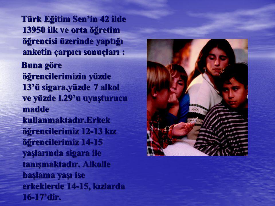 Türk Eğitim Sen'in 42 ilde 13950 ilk ve orta öğretim öğrencisi üzerinde yaptığı anketin çarpıcı sonuçları :