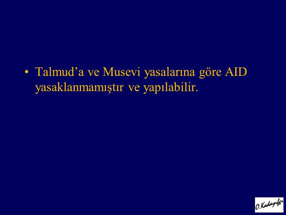Talmud'a ve Musevi yasalarına göre AID yasaklanmamıştır ve yapılabilir.