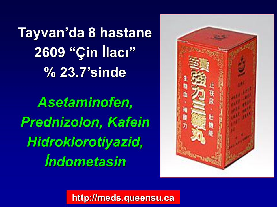 Asetaminofen, Prednizolon, Kafein Hidroklorotiyazid, İndometasin