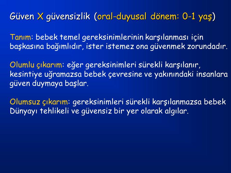 Güven X güvensizlik (oral-duyusal dönem: 0-1 yaş)