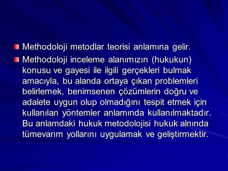 Methodoloji metodlar teorisi anlamına gelir.