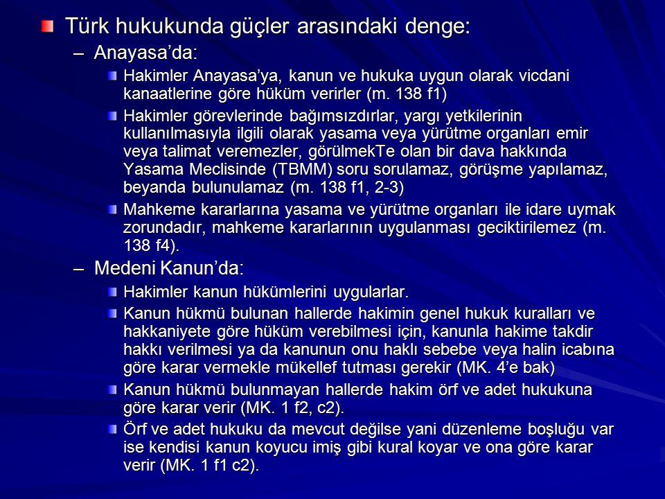 Türk hukukunda güçler arasındaki denge: