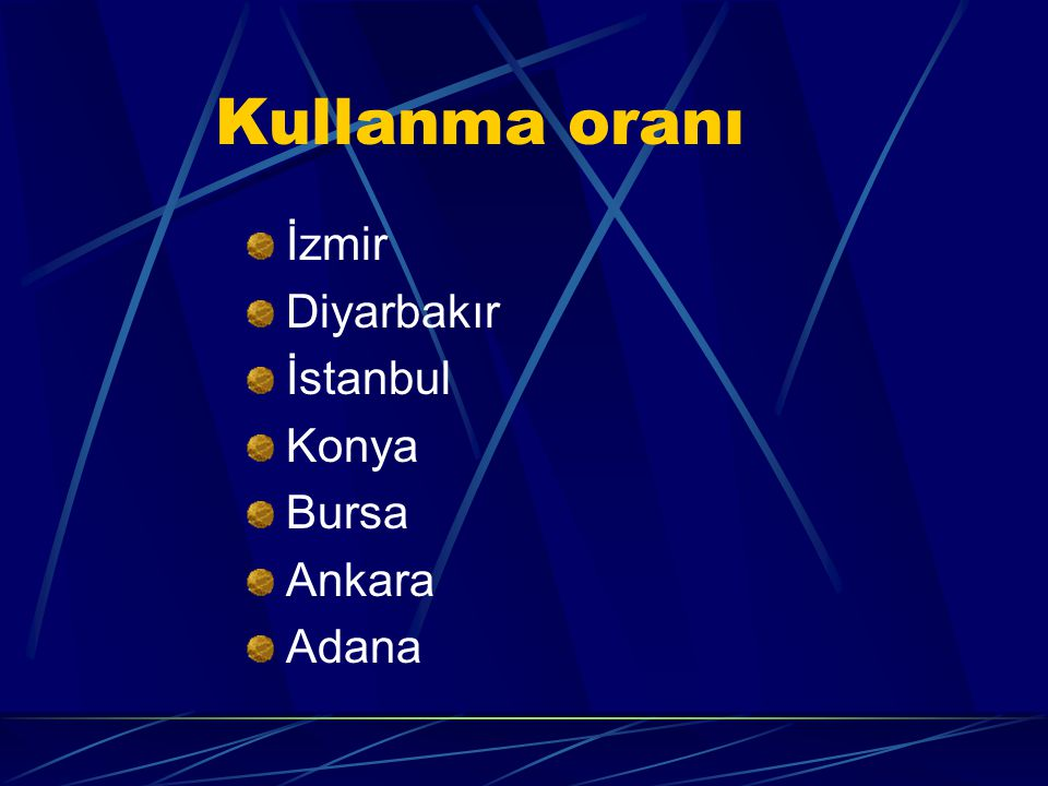 Kullanma oranı İzmir Diyarbakır İstanbul Konya Bursa Ankara Adana
