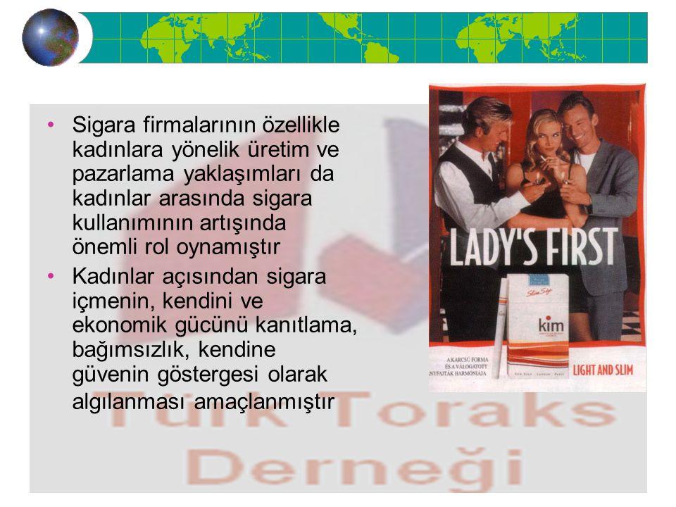 Sigara firmalarının özellikle kadınlara yönelik üretim ve pazarlama yaklaşımları da kadınlar arasında sigara kullanımının artışında önemli rol oynamıştır