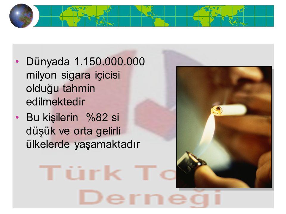 Dünyada 1.150.000.000 milyon sigara içicisi olduğu tahmin edilmektedir