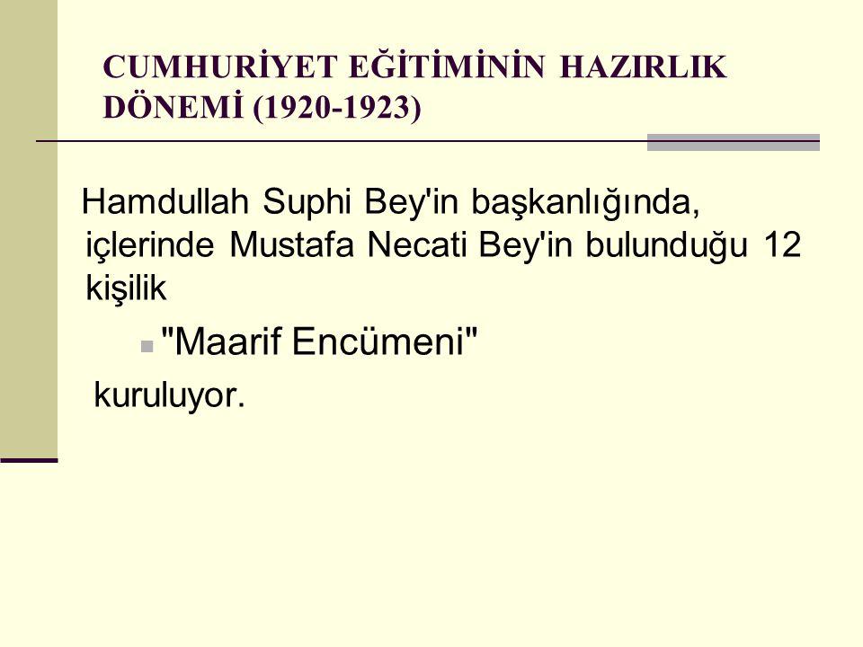 CUMHURİYET EĞİTİMİNİN HAZIRLIK DÖNEMİ (1920-1923)