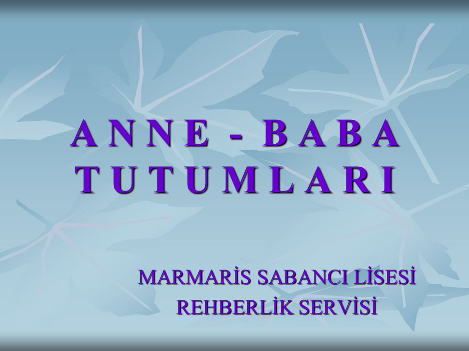 MARMARİS SABANCI LİSESİ REHBERLİK SERVİSİ