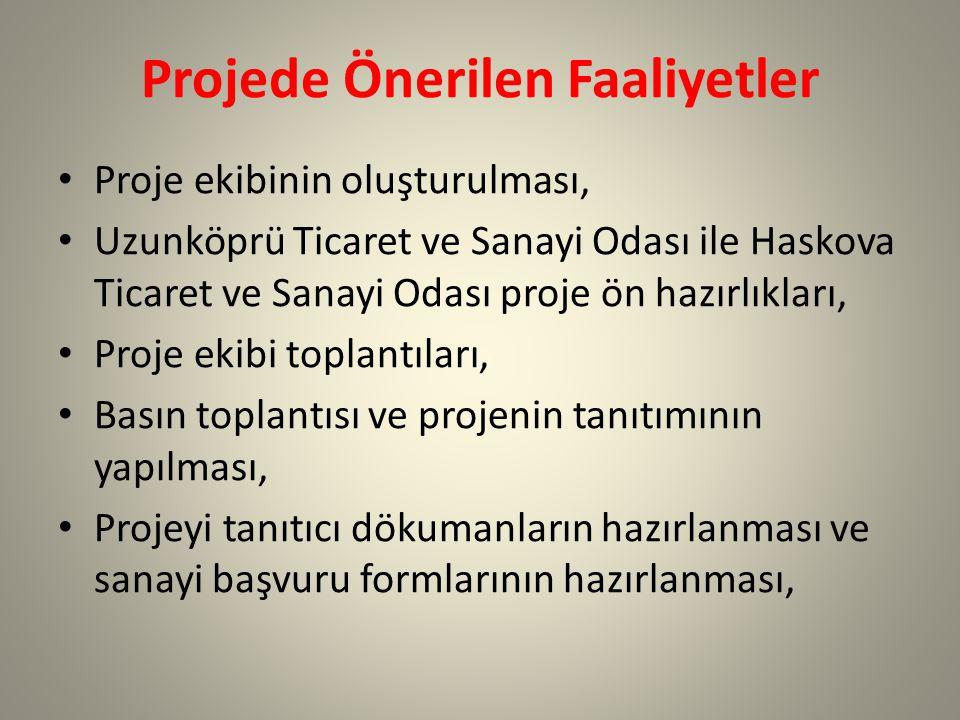 Projede Önerilen Faaliyetler