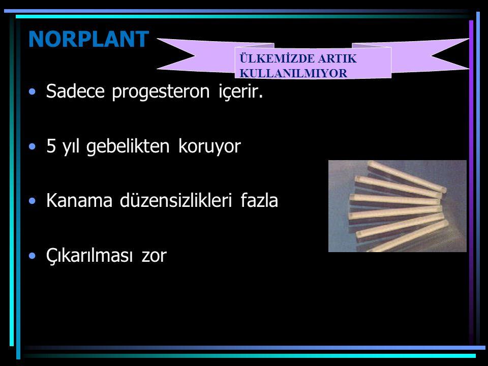 NORPLANT Sadece progesteron içerir. 5 yıl gebelikten koruyor