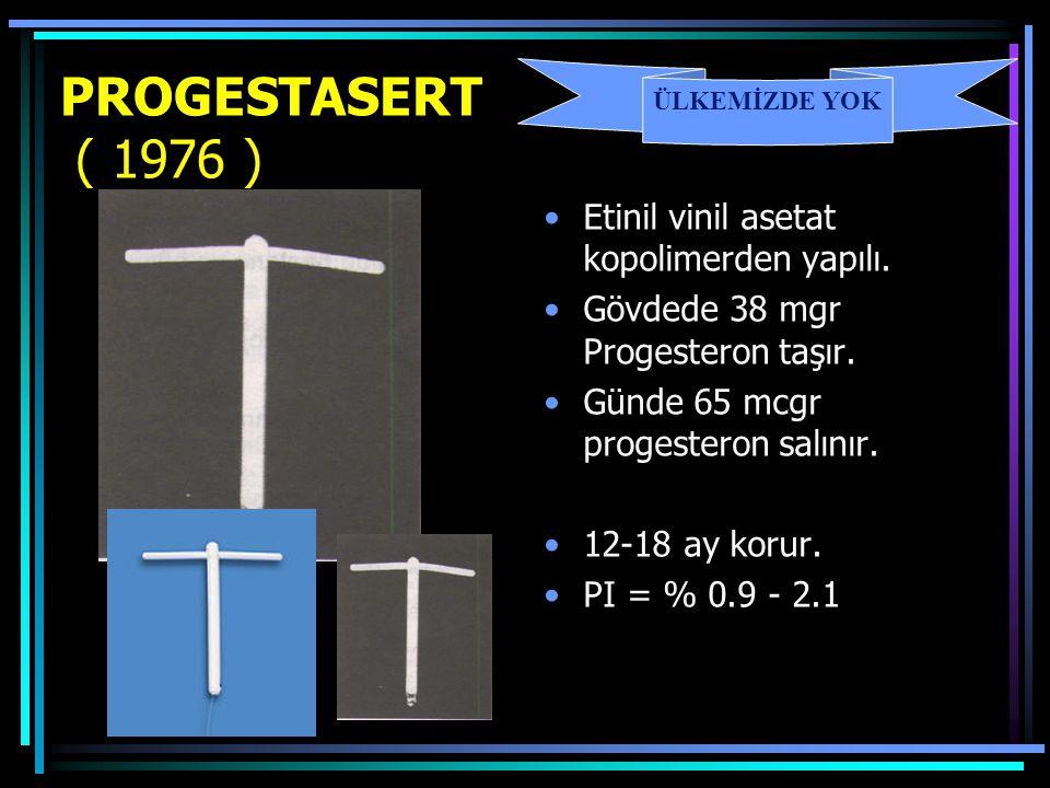 PROGESTASERT ( 1976 ) Etinil vinil asetat kopolimerden yapılı.