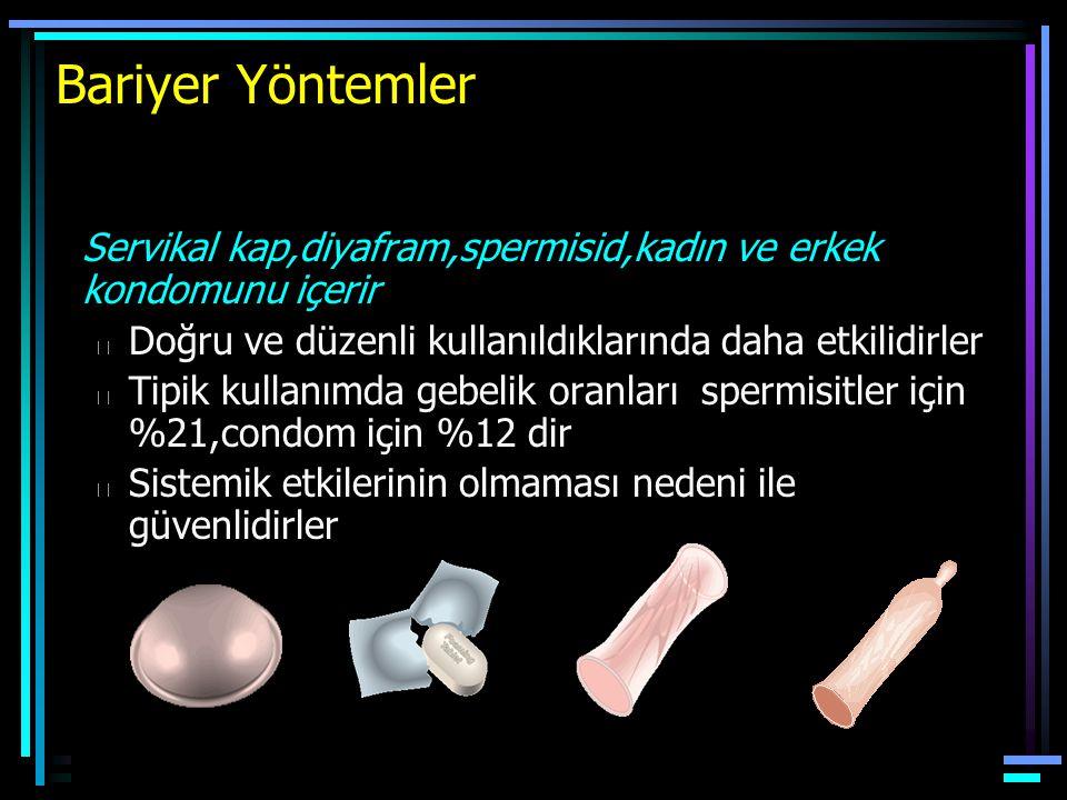 Bariyer Yöntemler Servikal kap,diyafram,spermisid,kadın ve erkek kondomunu içerir. Doğru ve düzenli kullanıldıklarında daha etkilidirler.